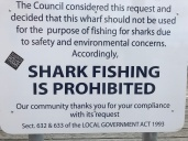 Notice on the Wharf at Tathra. People were still fishing. Popular spot for whales too!