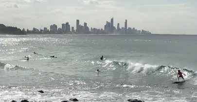 Surfing at Burleigh Heads